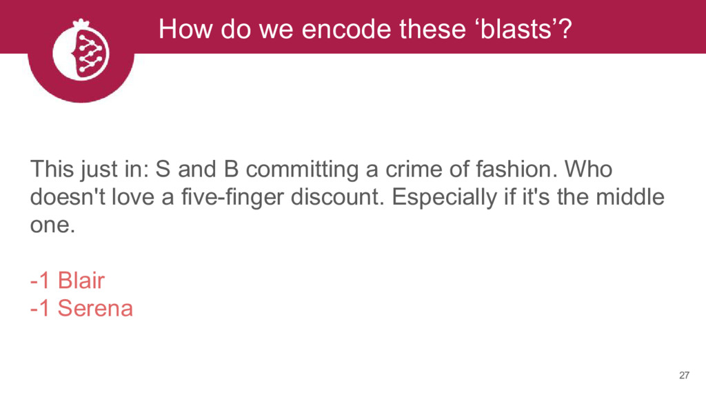 27 How do we encode these 'blasts'? This just i...