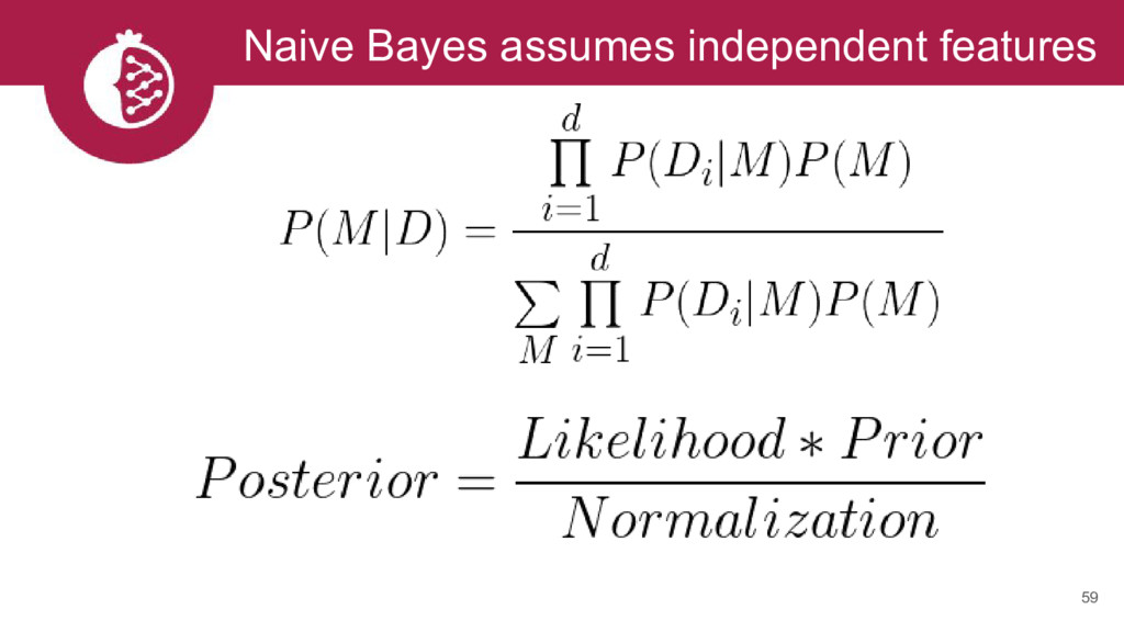 Naive Bayes assumes independent features 59