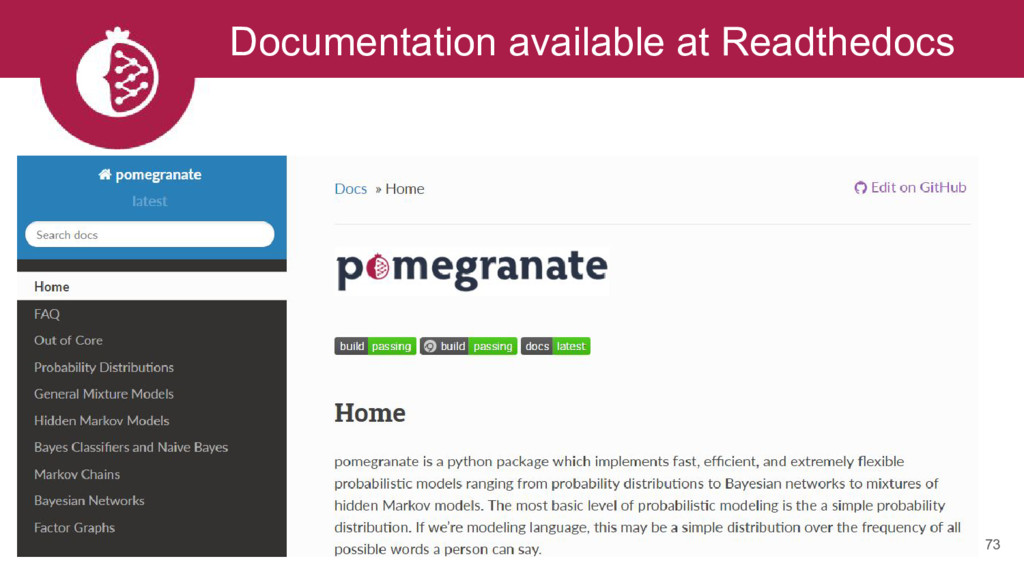 Documentation available at Readthedocs 73