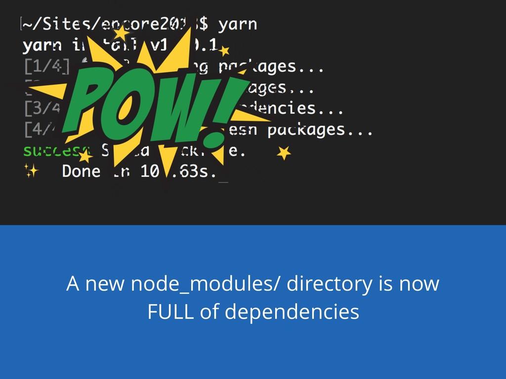 A new node_modules/ directory is now FULL of de...