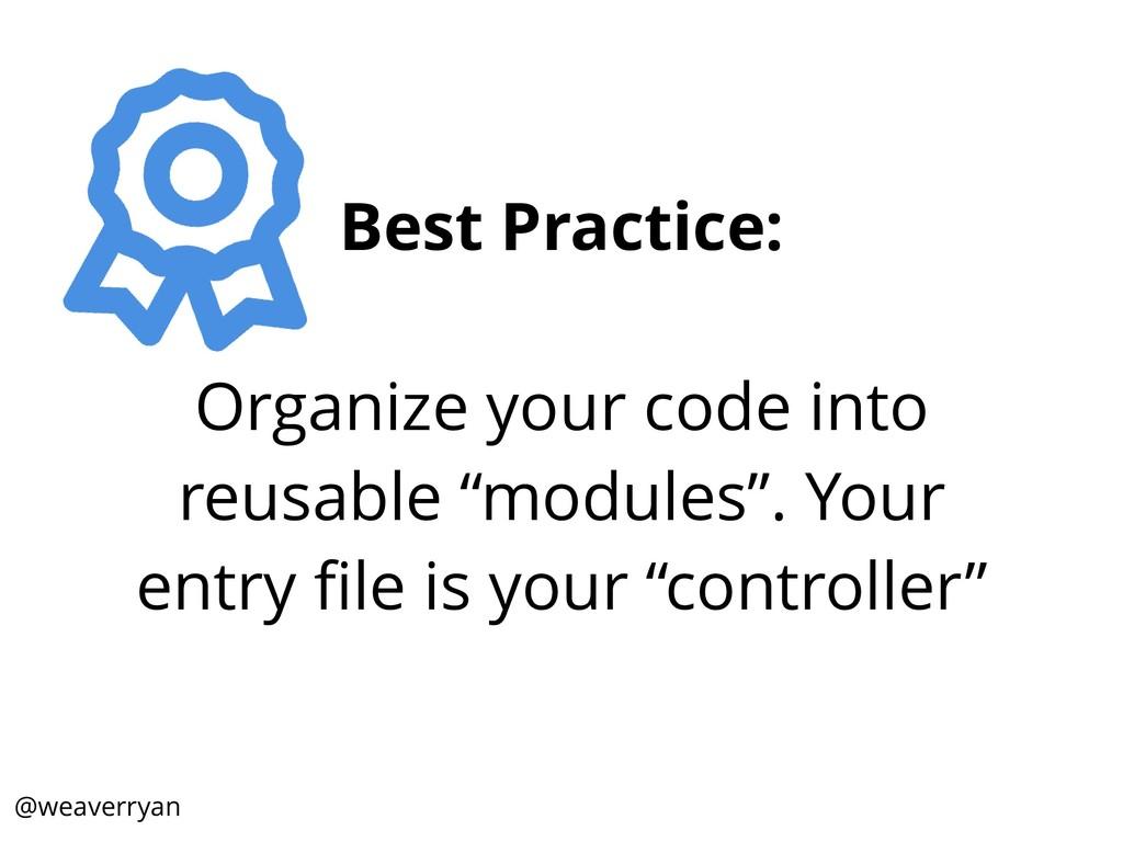 Best Practice: Organize your code into reusable...