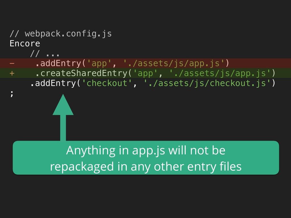 // webpack.config.js Encore // ... - .addEnt...