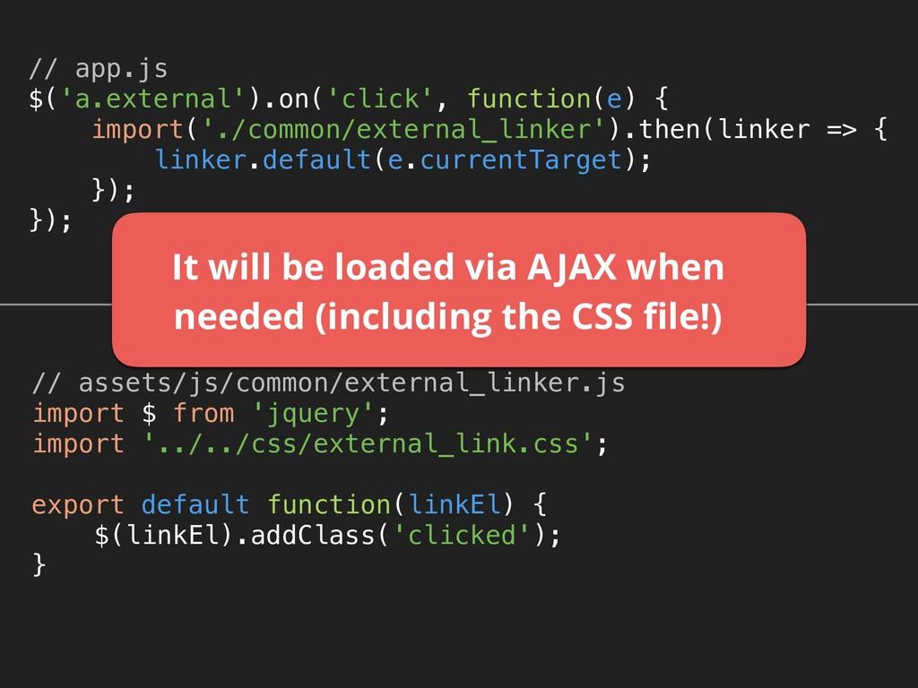 // app.js $('a.external').on('click', function...