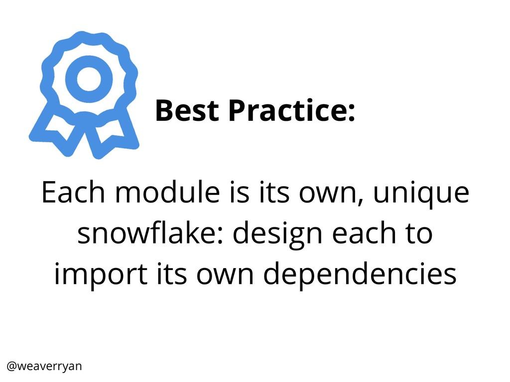 Best Practice: Each module is its own, unique s...