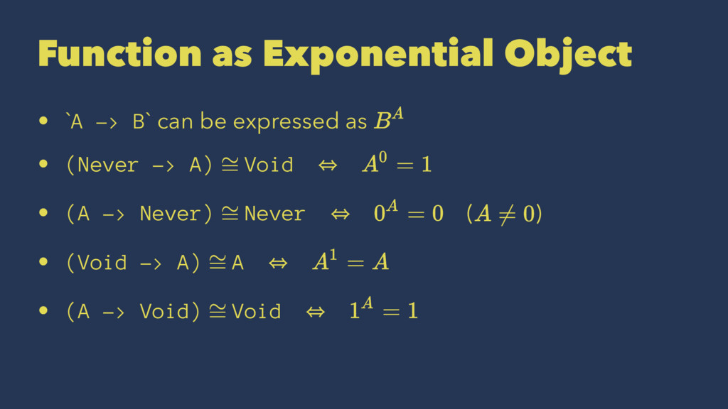 Function as Exponential Object • `A -> B` can b...