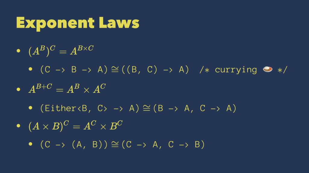 Exponent Laws • • (C -> B -> A) ((B, C) -> A)ɹ/...