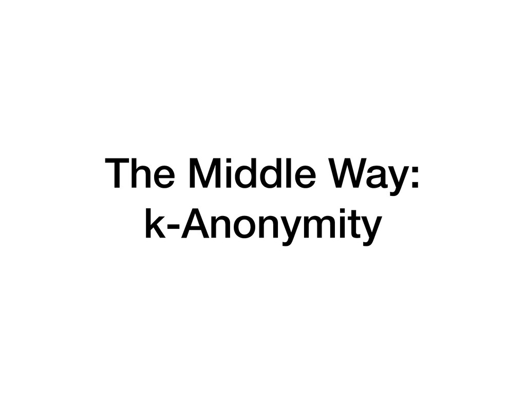 The Middle Way: k-Anonymity