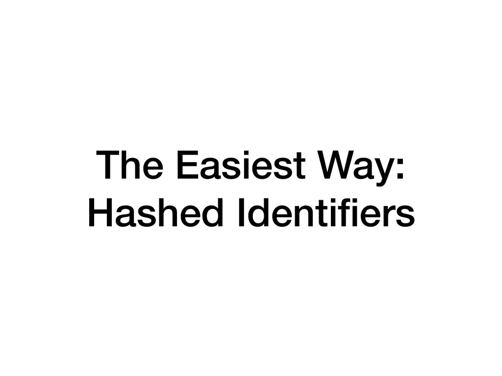 The Easiest Way: Hashed Identifiers