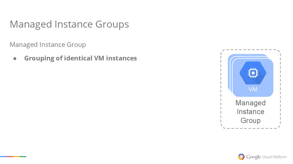 Managed Instance Group ● Grouping of identical ...