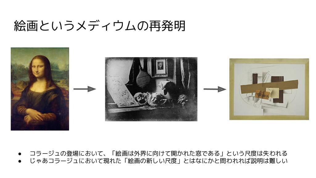 ● コラージュの登場において、「絵画は外界に向けて開かれた窓である」という尺度は失われる ● ...