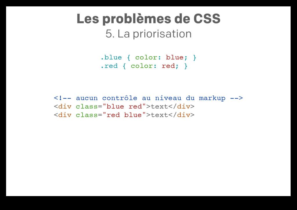 Les problèmes de CSS 5. La priorisation .blue {...
