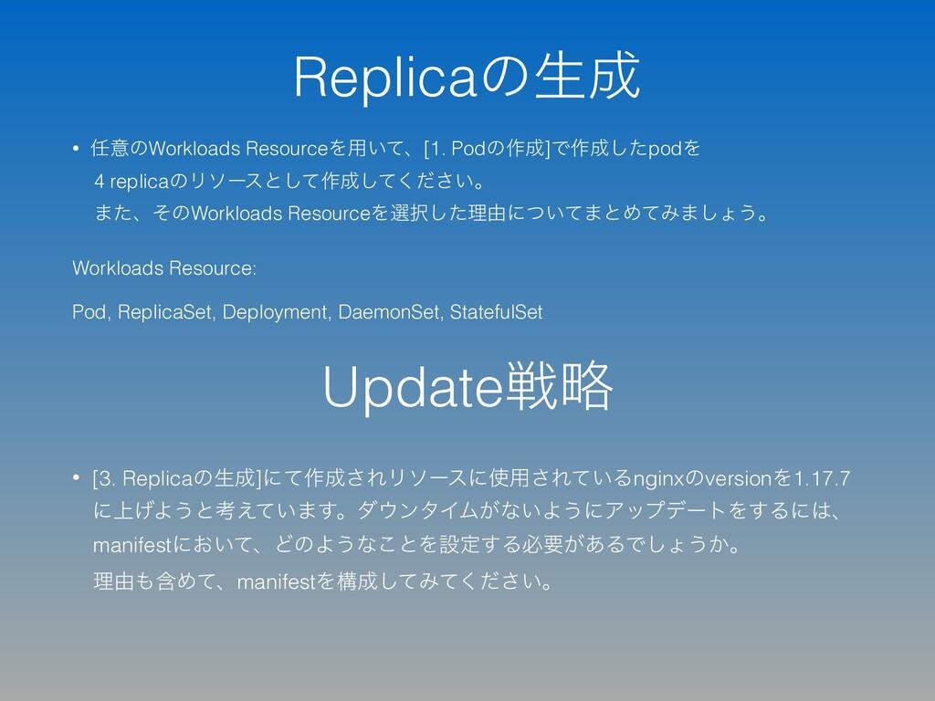 Replicaͷੜ • ҙͷWorkloads ResourceΛ༻͍ͯɺ[1. Podͷ...