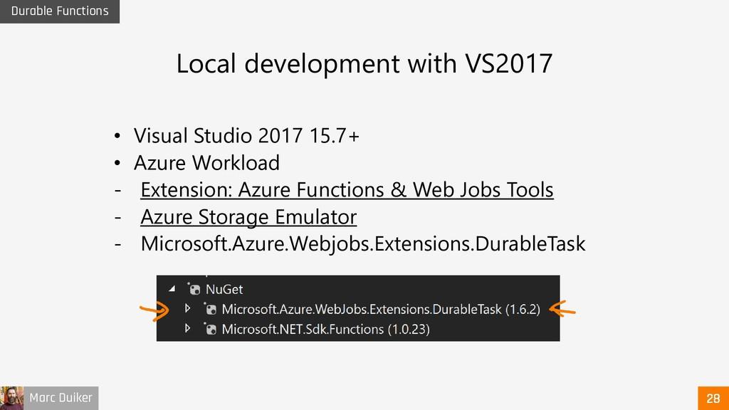 Marc Duiker Durable Functions • Visual Studio 2...