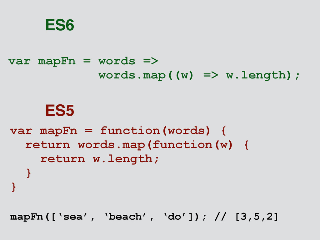 var mapFn = words => words.map((w) => w.length)...