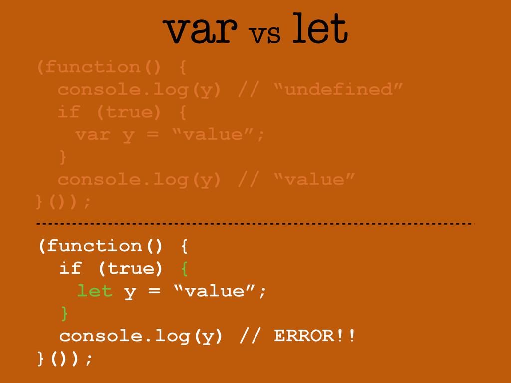 """var vs let (function() { if (true) { let y = """"v..."""