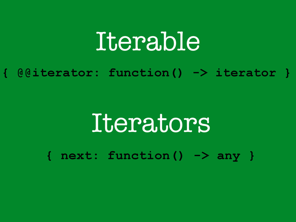 Iterable { @@iterator: function() -> iterator }...