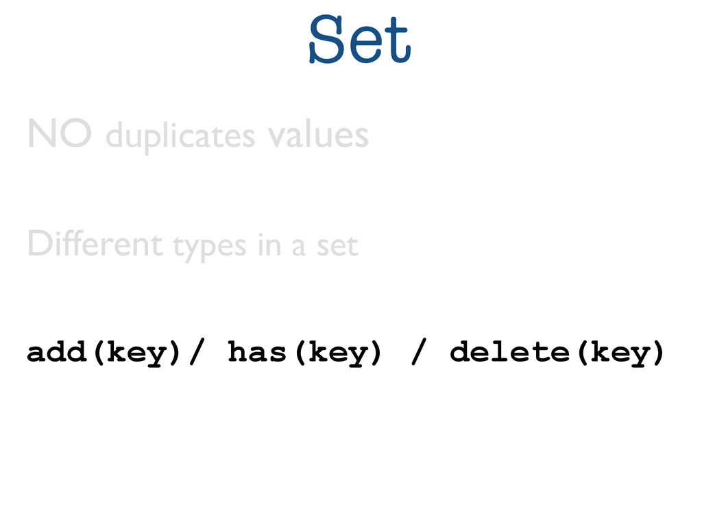 Set NO duplicates values	 