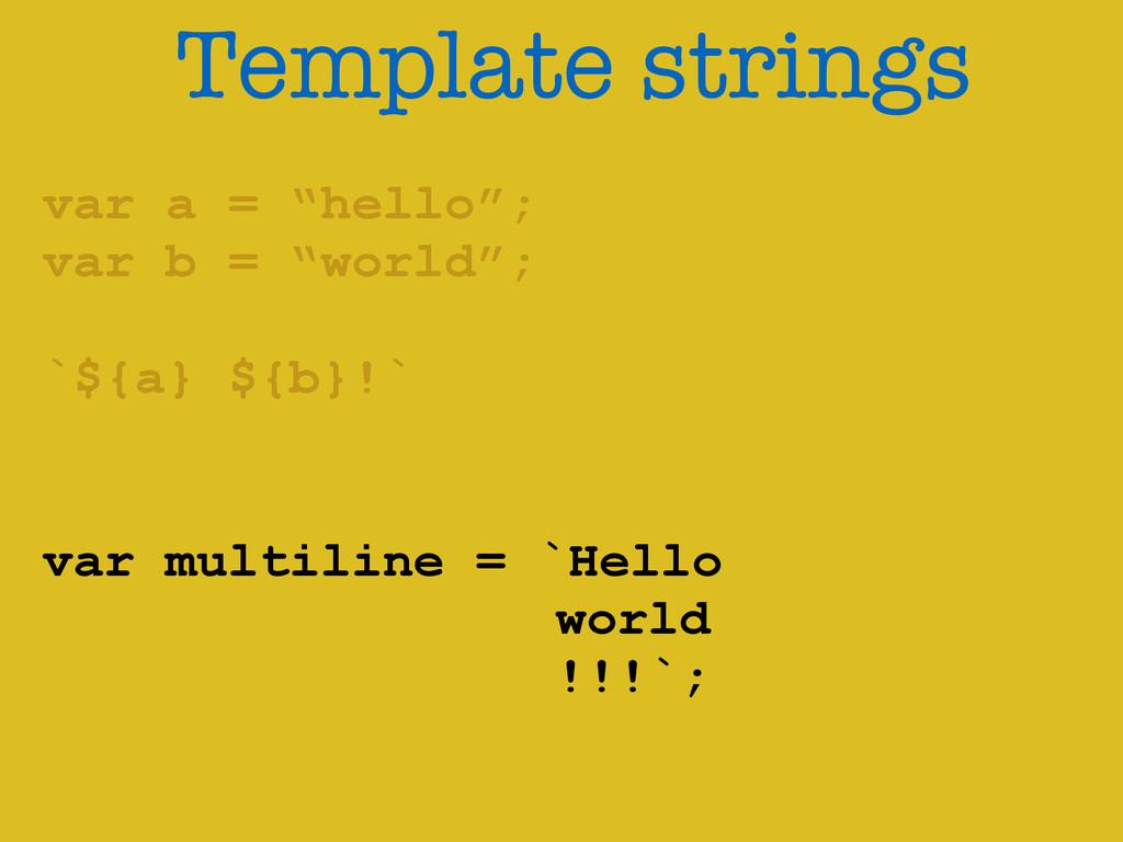 "Template strings var a = ""hello""; var b = ""worl..."