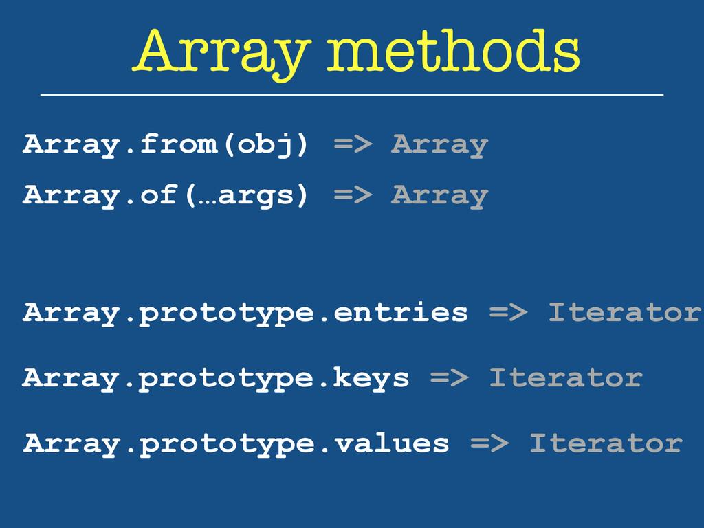 Array methods Array.from(obj) => Array Array.pr...