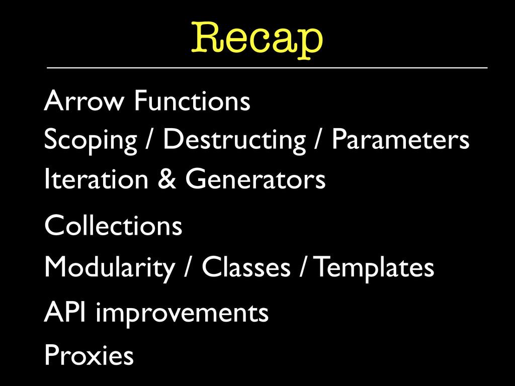 Iteration & Generators  Recap Arrow Functions...