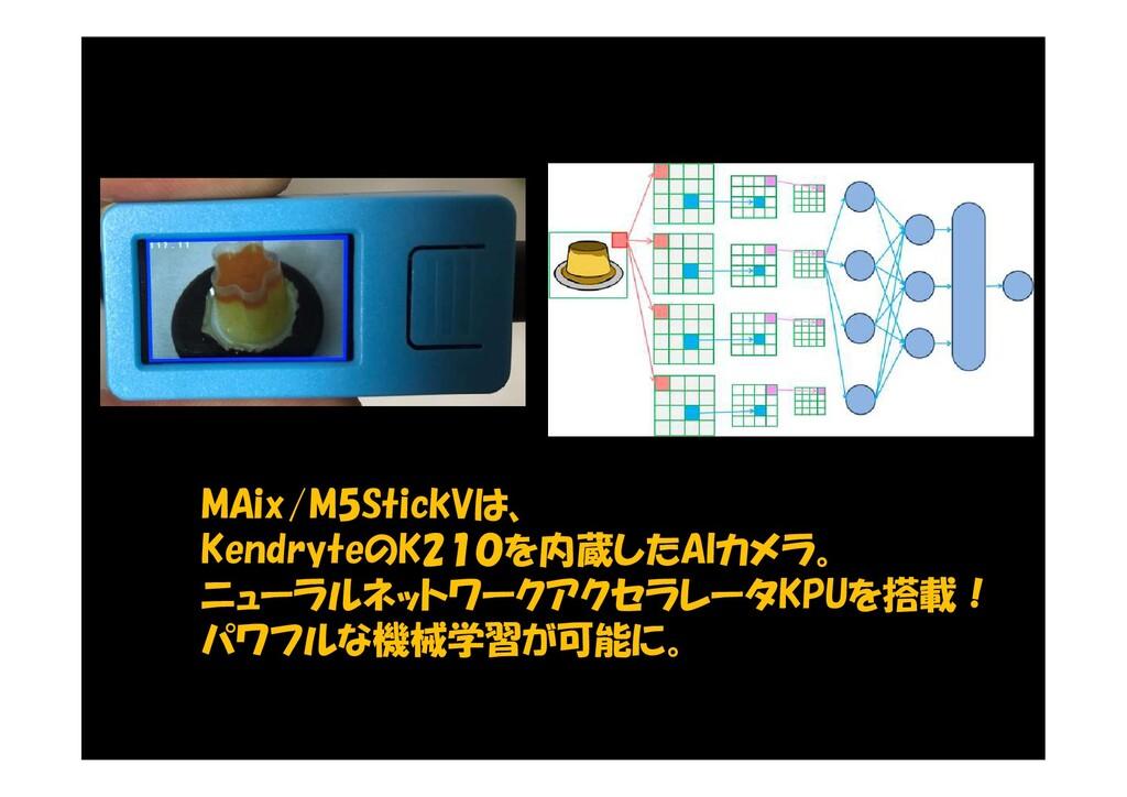 MAix/M5StickVは、 KendryteのK210を内蔵したAIカメラ。 ニューラルネ...