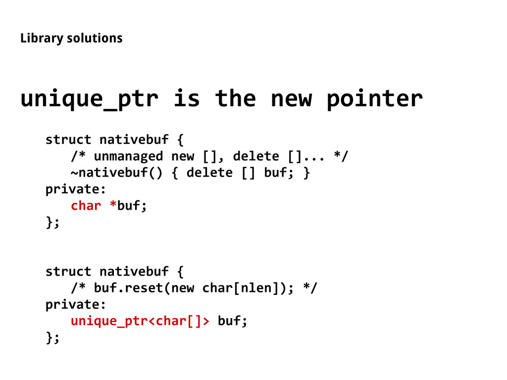 Library solutions unique_ptr is the new pointer...