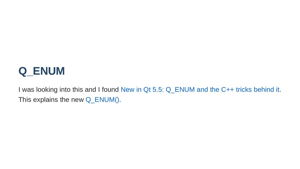 Q_ENUM I was looking into this and I found New ...
