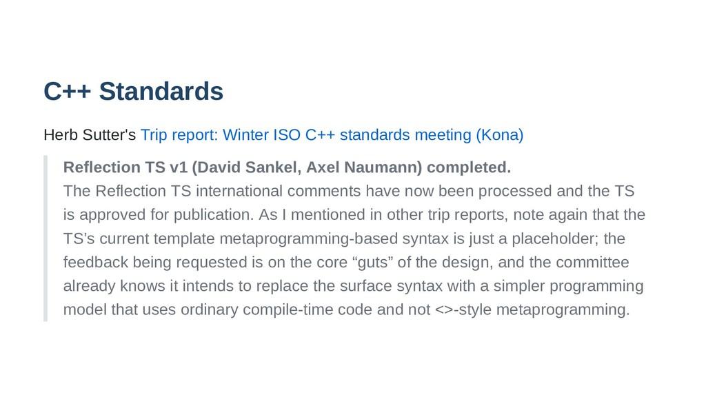 C++ Standards Herb Sutter's Trip report: Winter...