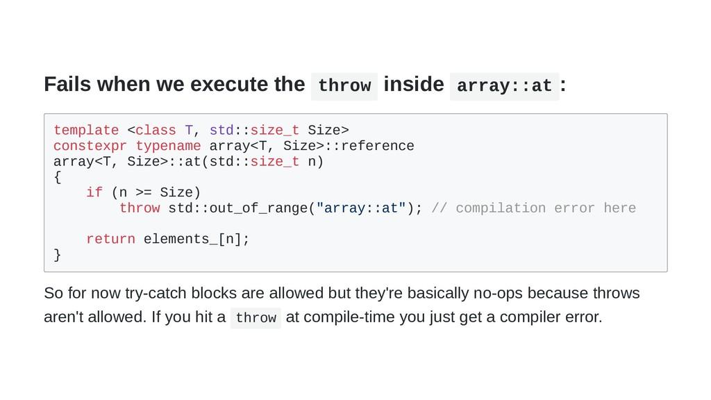 Fails when we execute the throw inside array::a...