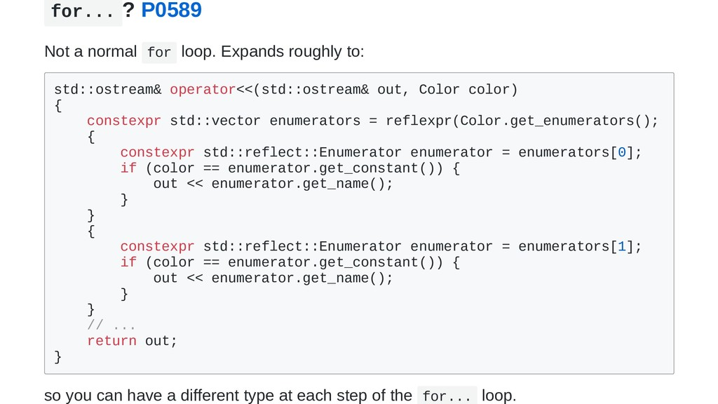 for... ? P0589 Not a normal for loop. Expands r...
