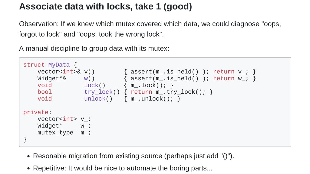 Associate data with locks, take 1 (good) Observ...