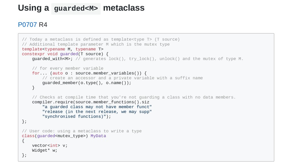 Using a guarded<M> metaclass P0707 R4 // Today ...