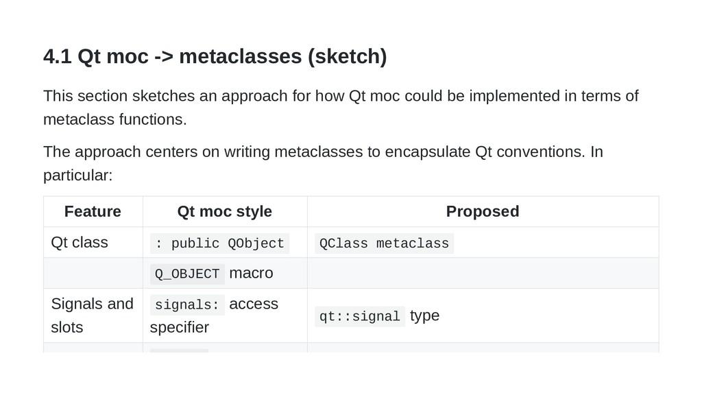 4.1 Qt moc -> metaclasses (sketch) This section...