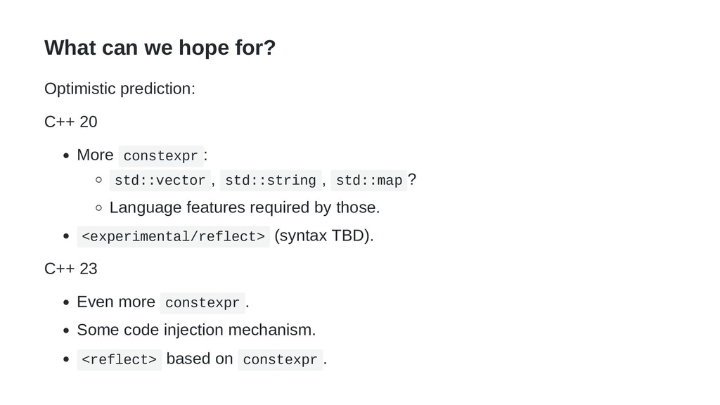 What can we hope for? Optimistic prediction: C+...