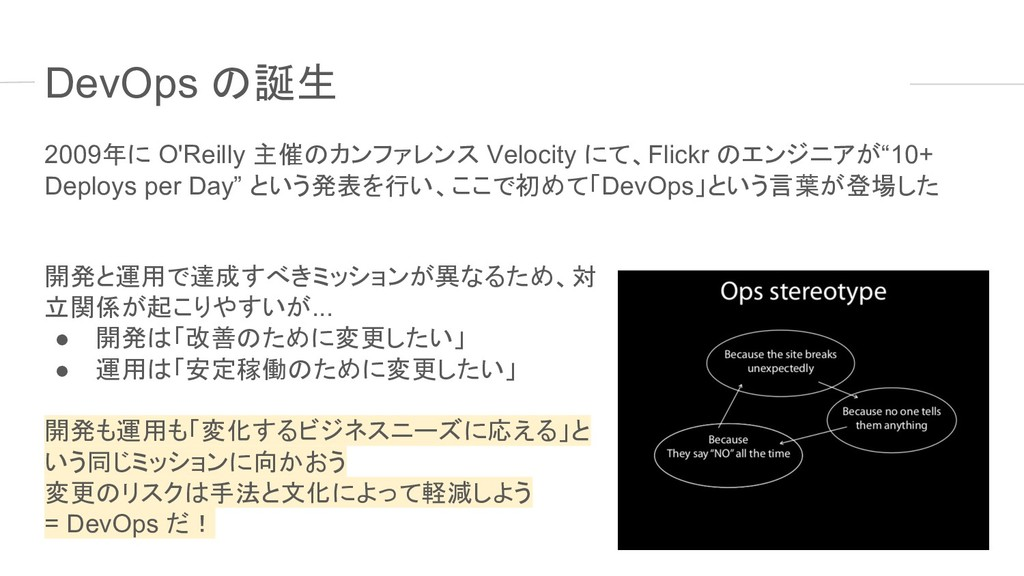 DevOps の誕生 2009年に O'Reilly 主催のカンファレンス Velocity ...