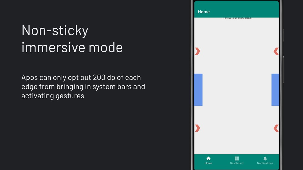 Non-sticky immersive mode Apps can only opt out...