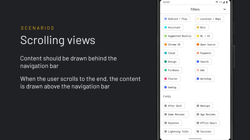 Scrolling views Content should be drawn behind ...