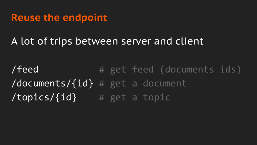 A lot of trips between server and client /feed ...