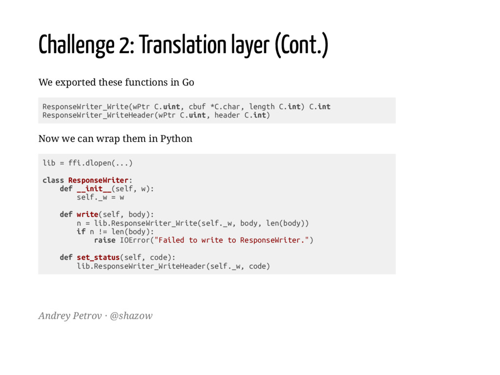 Challenge 2: Translation layer (Cont.) We expor...