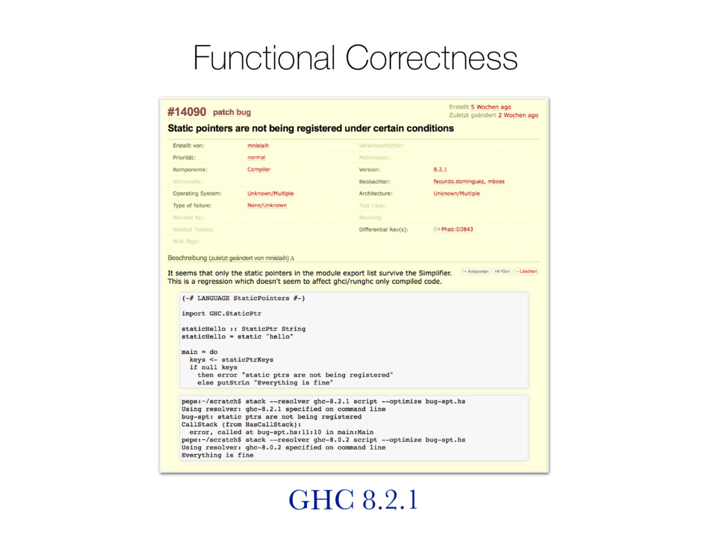 Functional Correctness GHC 8.2.1