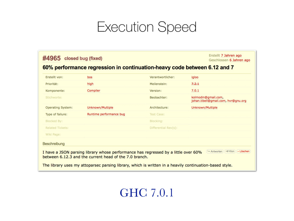 Execution Speed GHC 7.0.1