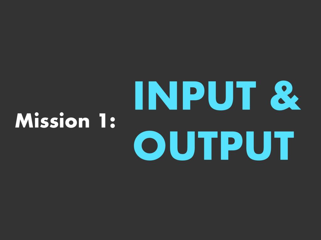 Mission 1: INPUT & OUTPUT
