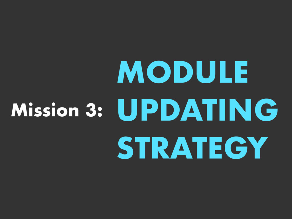 Mission 3: MODULE UPDATING STRATEGY