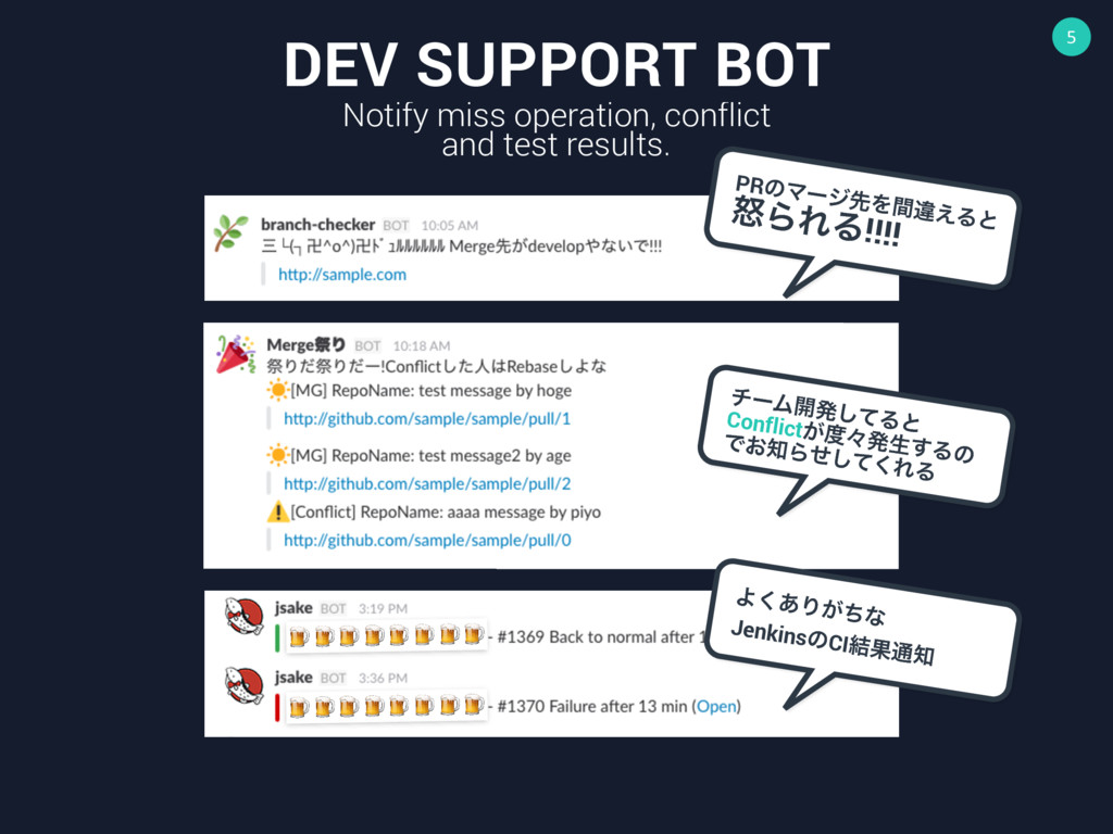 5 DEV SUPPORT BOT Notify miss operation, confli...