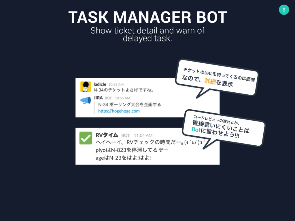 6 TASK MANAGER BOT Show ticket detail and warn ...