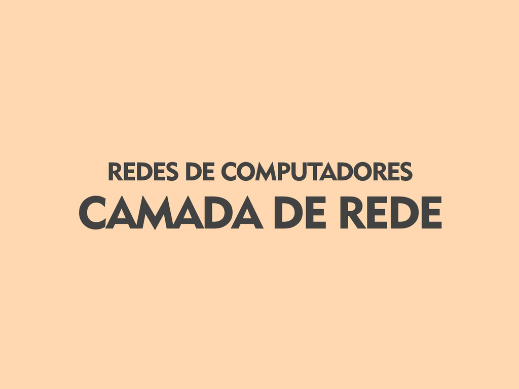 CAMADA DE REDE REDES DE COMPUTADORES
