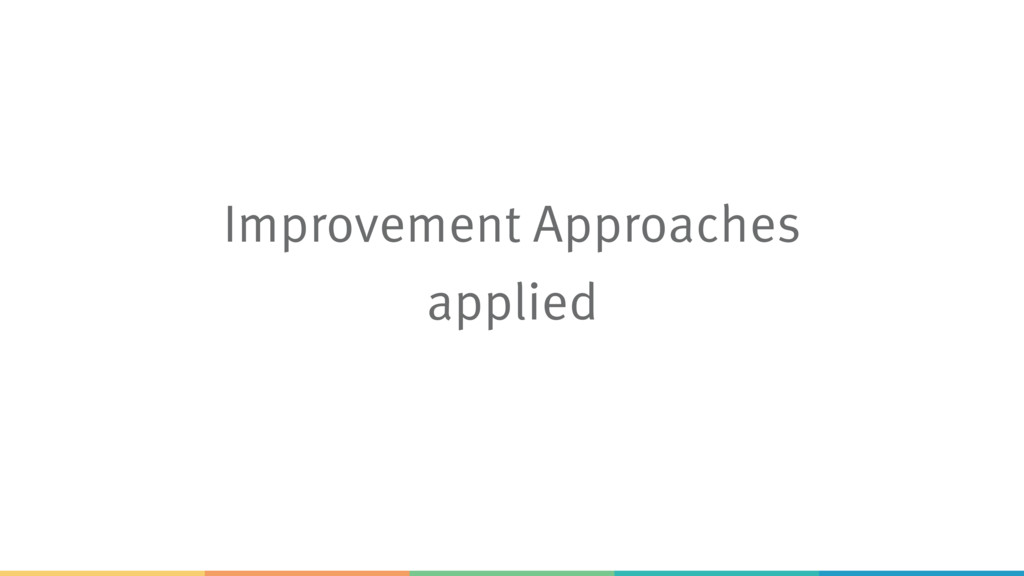 Improvement Approaches applied
