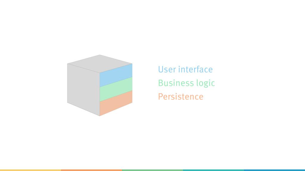 User interface Business logic Persistence