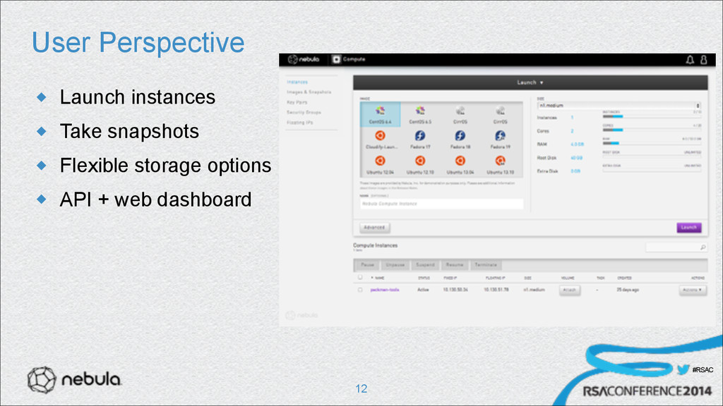 #RSAC User Perspective u Launch instances u T...