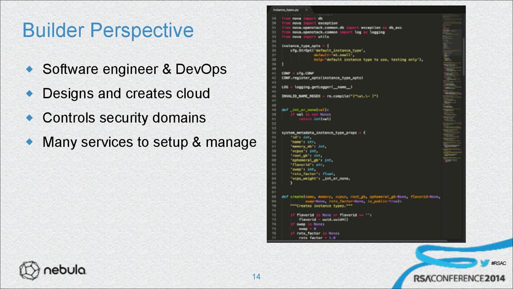 #RSAC Builder Perspective u Software engineer ...